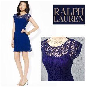 LRL NWOT Blue Crochet Mini Dress